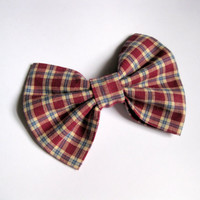 Plaid fabric bow - girls bows - preppy school uniforms hair clip - womens hair accessories - red Rockabilly hairclips - Classic tuxedo bow