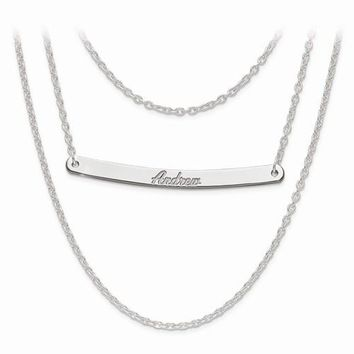Sterling Silver Brushed Or Polished 3 Chain 1 Bar Name Necklace