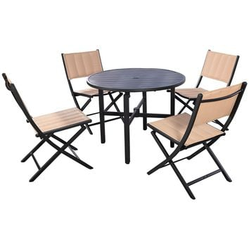 5 PCS Patio Outdoor Folding Chairs Table Furniture Set Backyard Bistro