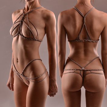Stretch Shibari set - Stretch Rope Harness Set - Crotchless Panties - Cupless Top - Cage Bra - Open Cup Bralette - Bondage Lingerie - BDSM
