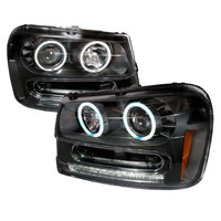 02-05 CHEVY TRAILBLAZER HEADLIGHT CCFL HALO PROJECTOR HEADLIGHTS BLACK