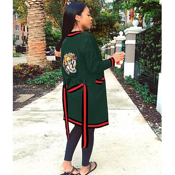 GUCCI Classic Fashionable Women Stripe Tiger Head Sequins Long Sleeve Cardigan Sweater Coat Green