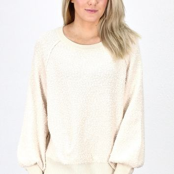 Puff Sleeve Boat Neck Sweater {Ivory}