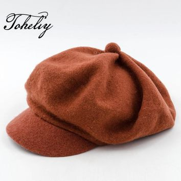 Autumn Winter Women's Fashion 100% Wool Cute Ladies Hats Vintage Trendy Derby Bowler Top Fedora Hat Cap for Woman Bucket