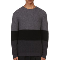 Calvin Klein Collection Grey Colorblocked Sweater