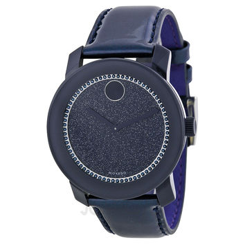 Movado Bold Navy Dial Navy Leather Strap Ladies Watch 3600229