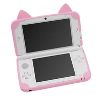 For Nintendo 3DS LL Cat Ears Silicon Soft Case Cover Pink