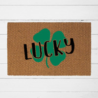 Lucky Four Leaf Clover Doormat| Welcome Mat | Home Decor | St. Patrick's Day Decor | Irish Decor | Outdoor Rug | Funny Doormat