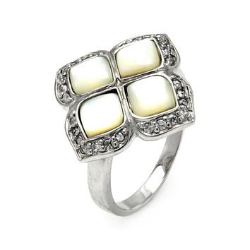 925 Sterling Silver Ladies Jewelry Mother Of Pearl Flower Design Ring Width: 21mm: Size: 5