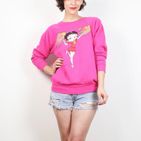 Vintage 90s Sweatshirt Dark Pink BETTY BOOP Cartoon Novelty Print 1990s Sweatshirt Long Sleeve Tshirt Cheerleader Jumper Hipster S Small M