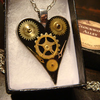Clockwork Heart with Watch Part Gears Steampunk Pendant Necklace- (1809)