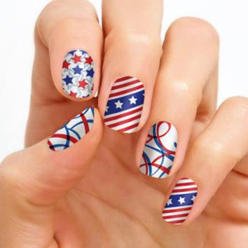 100% Real Nail Polish Strip by Color Street - Miss Stars & Stripes (Buy 3 get 1 Free)