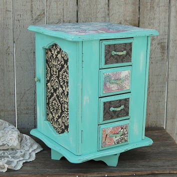 Jewelry Box, Jewelry Armoire, Shabby Chic, Tiffany Blue, Aqua, Hand Painted, Music Box, Revolving, Large Jewelry Box, Jewelry Organizer