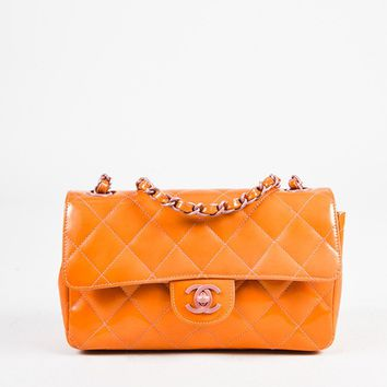 Chanel Orange and Purple Patent Leather Chain Strap 'CC' Flap Bag