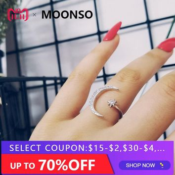fashion 925 Sterling Silver Ring Finger moon star CZ Ring for Women Jewelry Pure Wedding Engagement LR4596S