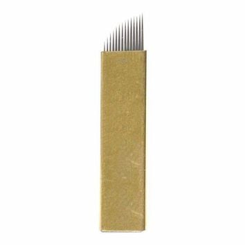 CREYXT3 FlyItem 50 Pcs Gold 14Pin Professional Permanent Makeup Blades Microblading Needles Manual Eyebrow Tattoo Curved Blade For 3D Embroidery Manual Tattoo Pen Machine Makeup Cosmetic Tool (Gold 14 Pin)