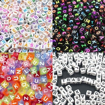"800 Pieces 4 Color Acrylic Alphabet Letter ""A-Z"" Cube Beads for Jewelry Making, Bracelets, Necklaces, Key Chains and Kids Jewelry (6mm)"
