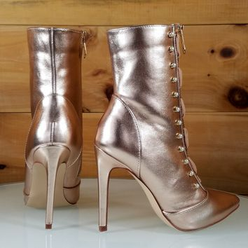 """Rose Gold Pointy Toe Ankle Boot Full Side Zipper 4"""" High Heels"""