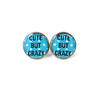 CUTE BUT CRAZY Blue Polka Dot Stud Earrings - Anti - Valentines Day Jewelry - Pastel Goth Insult Heart Pop Culture Jewelry