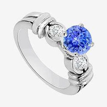 Tanzanite Engagement Ring with CZ  in 14K White Gold 1.30 Carat TGW