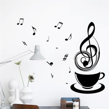 Coffee Cups Tea Cup Music Note Wall Stickers Vinyl Art Decal
