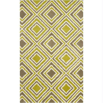 Area Rug - Caper Green, Green-yellow, And Winter White