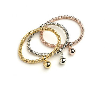 Women's Fashion Stretch Triple Rope Bracelet Bangle Assorted Summer Casual Rose