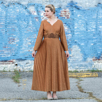 vintage maxi dress with sleeves / alfred shaheen dress / maxi dress long sleeve / gold maxi dress vintage / metallic dress lurex dress