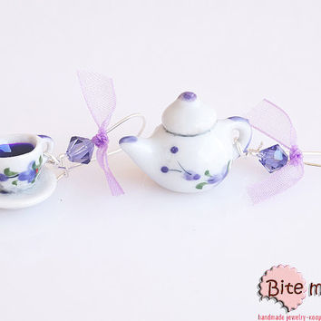 Food Jewelry Ceramic Set with Tea Pot and Cup Kidney Earrings, Polymer clay Jewelry, Miniature Food, Handmade Earrings, Mini Food