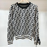 FENDI Trending Women Casual F Letter Jacquard Knit Bow Bind Round Collar Sweater Pullover Top White