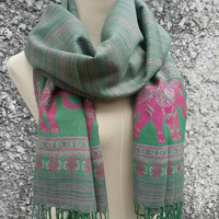 Pashmina Shawl Scarf Elephants Chic Native Styles Scarves Soft Comfy Hippies Boho Hobo Wrap Warm for Autumn Winter bridesmaid stylish Green