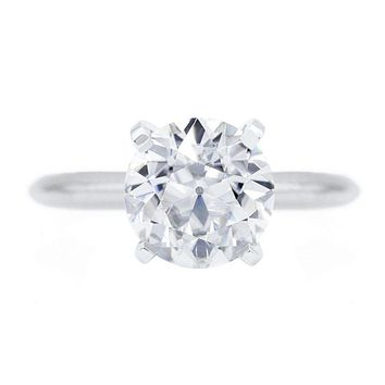 Old European Cut (OEC) Round Moissanite 14K or 18K White Gold 4 Prongs Solitaire Ring