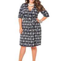Houndstooth Faux Wrap Dress