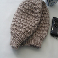 Light Brown Beige Slouchy Hat Adult Size Ready to Ship