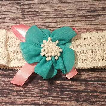 Aqua and Coral Flower Headband!