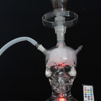 82004 Top Fasion Punk Stained Large Ghost Head Skull Style Shisha Glass Hookah Water Weed Pipes Grinder Smoking Pipe Narguile