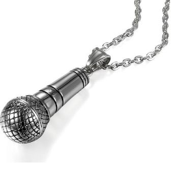 Silver Color Stainless Steel Stereoscopic Microphone Pendants Necklace