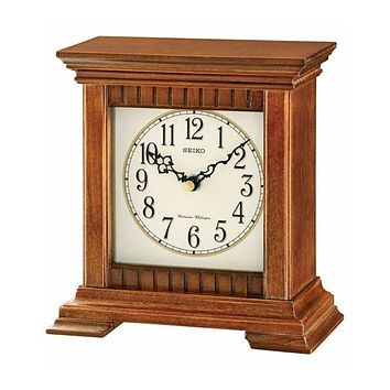Seiko Chiming Desk Clock - Brown Wooden Case - Nighttime Chime Silencer