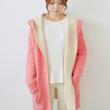 Pink Hooded Long Sleeve Woolen Coat