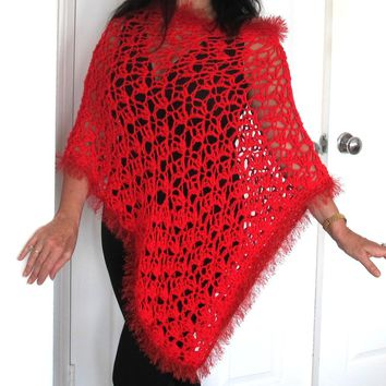 Red Crochet Lacy Poncho with fur trim, Asymmetrical Crochet Evening Wrap, Gift for Her