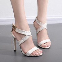 Straps Cross Ankle Wraps Open Toe Stiletto Heels Sandals