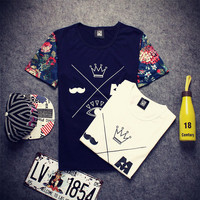 Summer Fashion Strong Character Print Short Sleeve Korean Cotton Round-neck Casual T-shirts [6544714499]