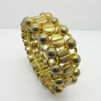 Chunky Clamper Bracelet | Vintage Gold Tone Hinged Bangle | Faded Gold Heavy Bracelet