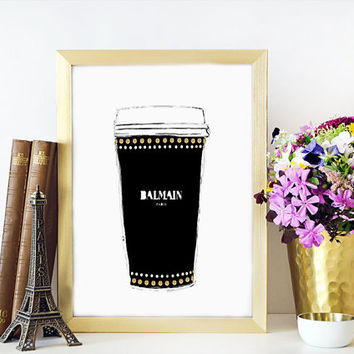 Balmain Espresso Coffee Cup Balmain Watercolor Painting Fashion Illustration Wall Home Decor Fashionista Fashion print Balmain Sign
