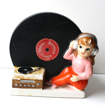 Vinyl Record Napcoware Ceramic Planter Teeny Bopper Tunes Cool Girl Rock n Roll