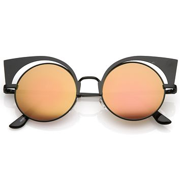 Women's Laser Cut Round Mirrored Lens Cat Eye Sunglasses C239