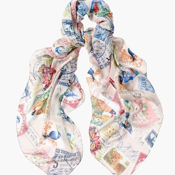 Chico's Travel Stamps Printed Scarf