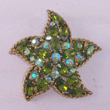 Signed Regency Pin Regency Starfish Green Aurora Borealis Designer Signed Vintage Jewelry Costume Jewellery Beach Summer Jewels