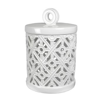 Decorative Ceramic Canister With Cutout Design, White