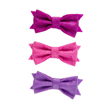 Baby hair bows, purple hair bows, girls hair accessories, gold hairclips, uk seller, bow hair slide, bridal hair pieces, felt bows